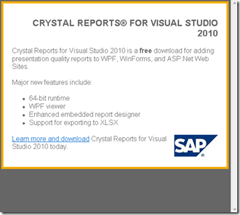 Crystal report 2010 hosting new features in crystal report 2010